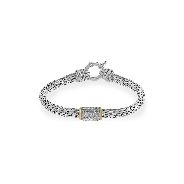 エフィー メンズ ネクタイ アクセサリー 925 Sterling Silver, 18K Yellow Gold & Diamond Bracelet Silver