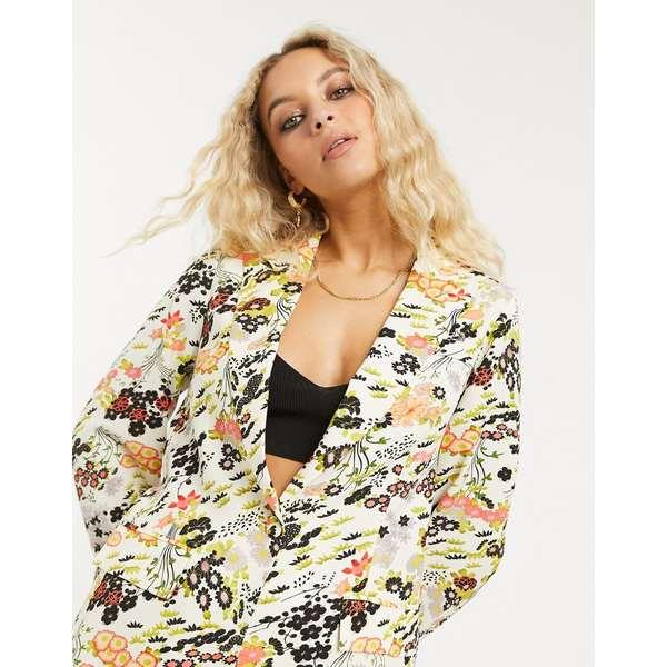トップショップ レディース ジャケット&ブルゾン アウター Topshop IDOL floral bloom print blazer in cream floral Multi