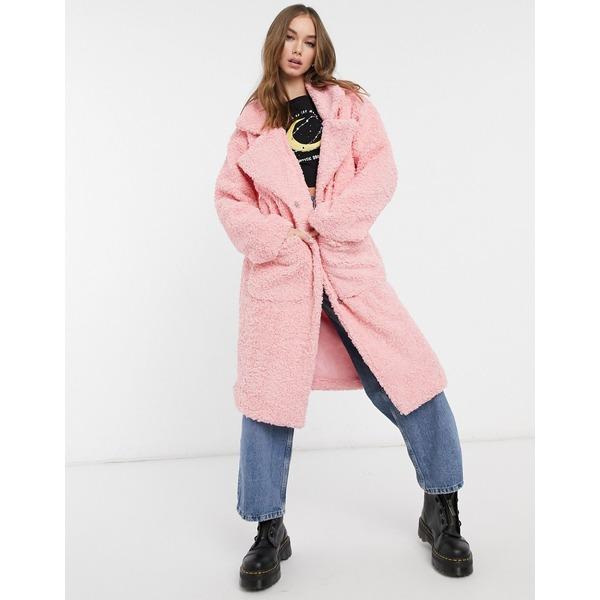 デイジーストリート レディース コート アウター Daisy Street oversized longline coat in teddy fleece Rose pink