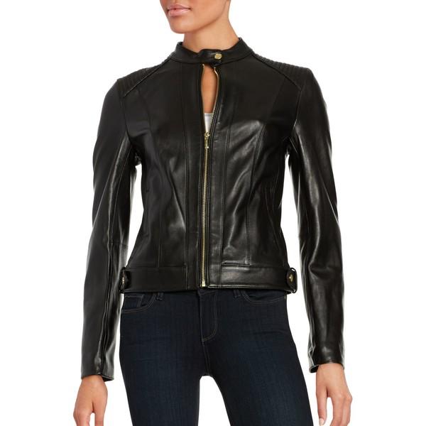 コールハーン レディース コート アウター Quilted Italian Leather Jacket Black