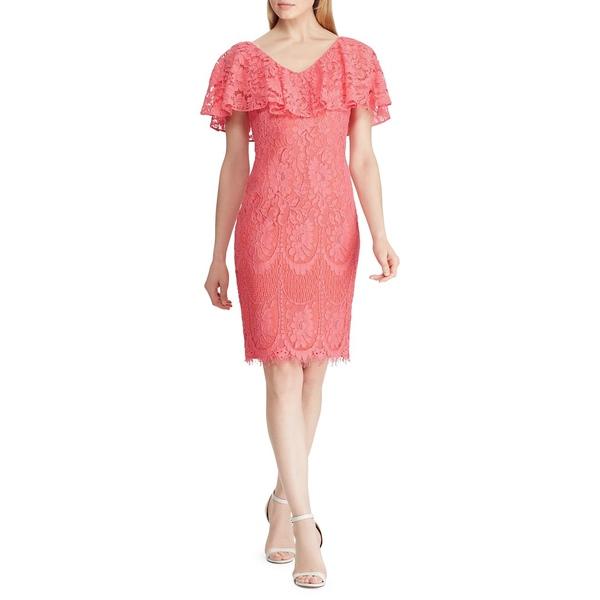 ラルフローレン レディース ワンピース トップス Ruffled Overlay Lace Cocktail Dress Nectar