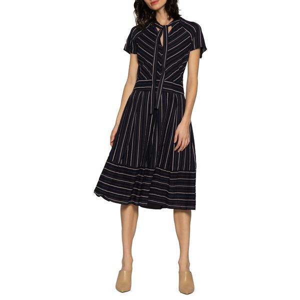 ウォルターベーカー レディース ワンピース White トップス レディース Striped A-line Tie Collar A-line Dress Blue White, PC家電ヨコツー!:73b94263 --- officewill.xsrv.jp