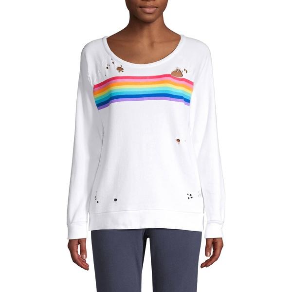 チェイサー レディース パーカー・スウェットシャツ アウター Distressed Rainbow Striped Sweatshirt White