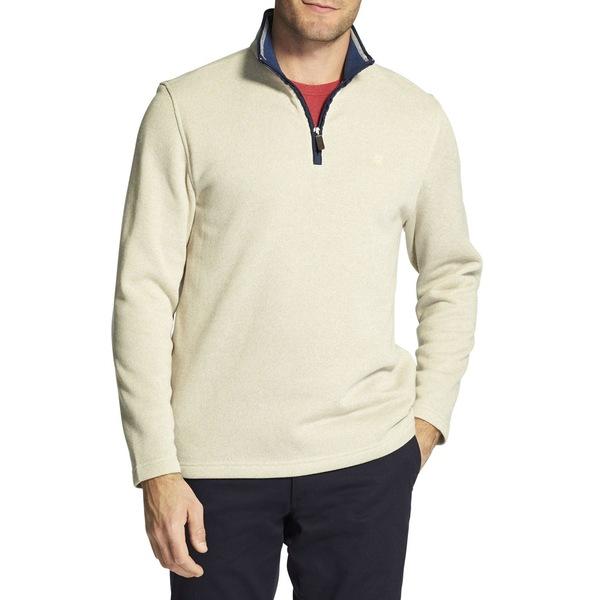 アイゾッド メンズ ニット&セーター アウター Premium Essentials Logo Fleece Cotton Sweater Cream