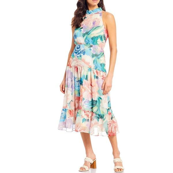 レスリー フェイ レディース ワンピース トップス Tiered Chiffon Tie Halter Neck Floral Print Midi Dress Aqua/Coral