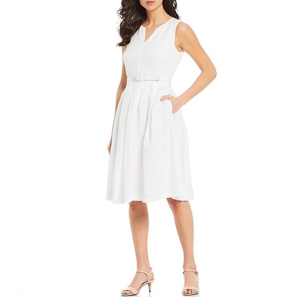 カールラガーフェルド レディース ワンピース トップス Linen Blend V-Neck Belted Fit & Flare Dress Soft White
