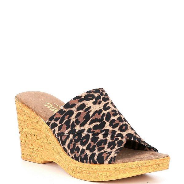 オネックス レディース サンダル シューズ Christina Elastic Leopard Wedge Sandals Brown Leopard