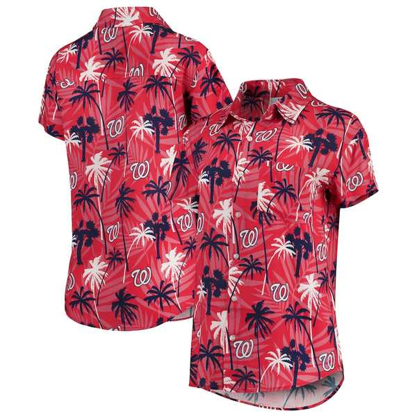 フォコ レディース シャツ トップス Washington Nationals Women's Harmonic Button-Up Shirt Red