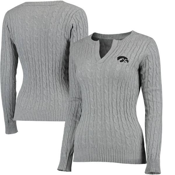 コロシアム レディース シャツ トップス Iowa Hawkeyes Colosseum Women's Alma Mater Cable Sweater Gray