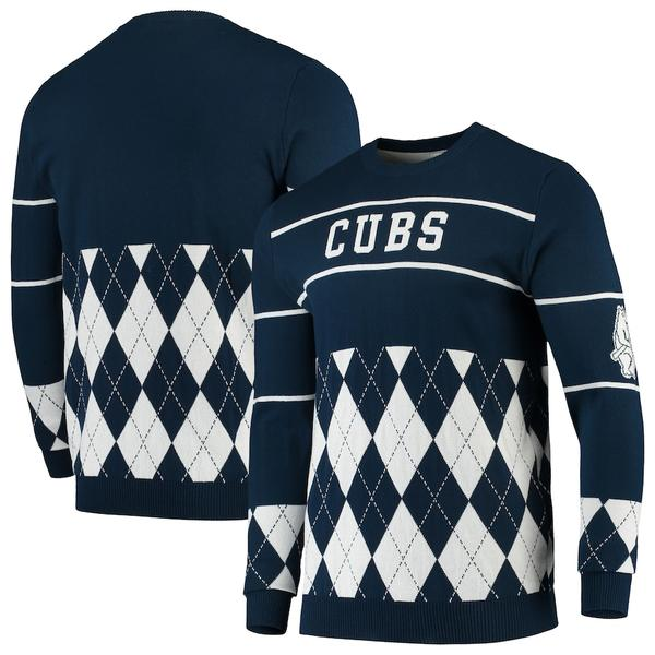 フォコ メンズ シャツ トップス Chicago Cubs Retro Stripe Pullover Sweater Navy