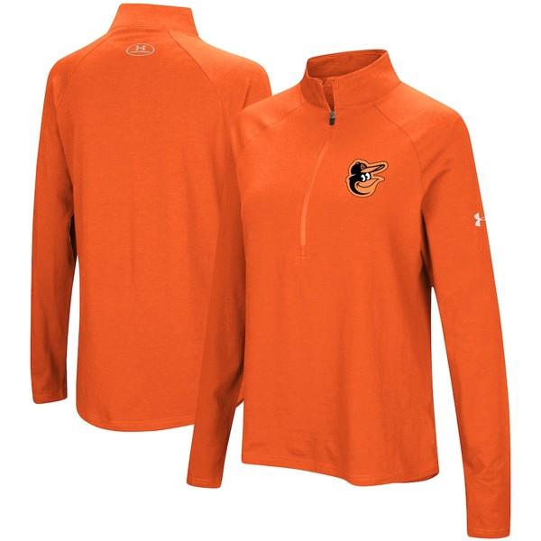 アンダーアーマー レディース ジャケット&ブルゾン アウター Baltimore Orioles Under Armour Women's Passion Performance Tri-Blend Raglan Half-Zip Pullover Jacket Orange