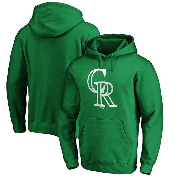 ファナティクス メンズ パーカー・スウェットシャツ アウター Colorado Rockies Fanatics Branded St. Patrick's Day White Logo Pullover Hoodie Green