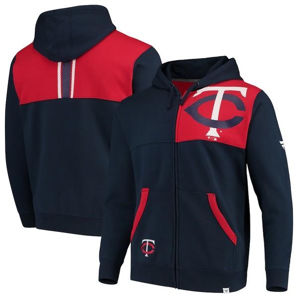 ファナティクス メンズ パーカー・スウェットシャツ アウター Minnesota Twins Fanatics Branded Iconic Bold Full-Zip Hoodie Navy/Red