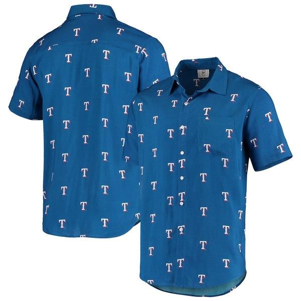 フォコ メンズ シャツ トップス Texas Rangers Mini Print Logo Button-Up Shirt Royal