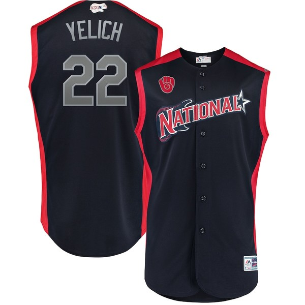 マジェスティック メンズ シャツ トップス Christian Yelich National League Majestic 2019 MLB All-Star Game Workout Player Jersey Navy