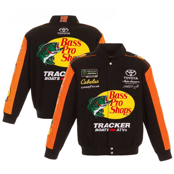 ジェイエイチデザイン メンズ ジャケット&ブルゾン アウター Martin Truex Jr JH Design Bass Pro Shops 2019 FullSnap Twill Uniform Jacket Black/Orange