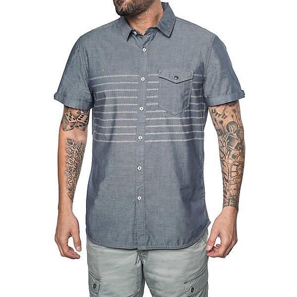 ジェレミア メンズ シャツ トップス Jeremiah Men's Gil Discharge Print Chambray SS Shirt Admiral