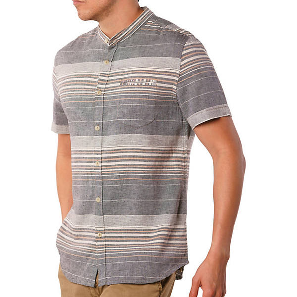 ジェレミア メンズ シャツ トップス Jeremiah Men's Houghton Linen Cotton Stripe SS Shirt Grey