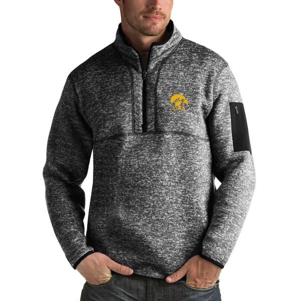 アンティグア メンズ ジャケット&ブルゾン アウター Iowa Hawkeyes Antigua Fortune 1/2-Zip Pullover Sweater Heathered Black