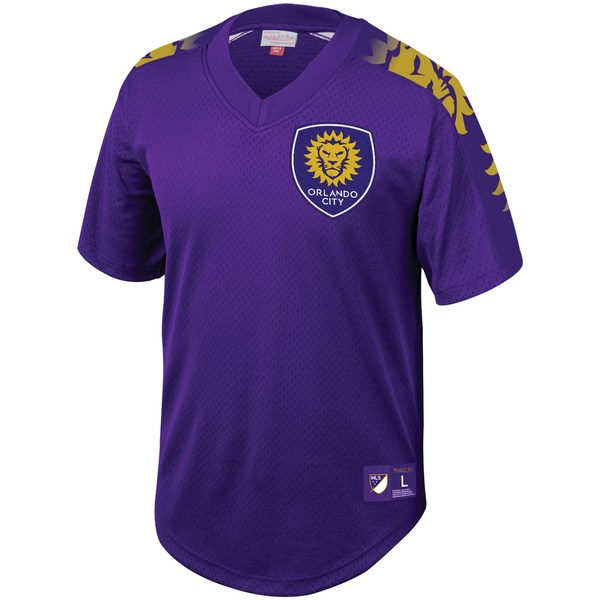 ミッチェル&ネス メンズ シャツ トップス Orlando City SC Mitchell & Ness Mesh VNeck Jersey Purple