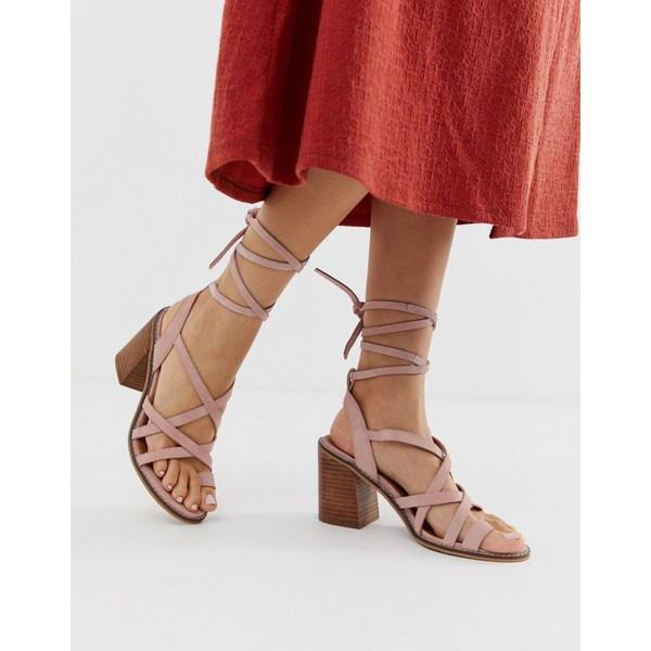 エイソス レディース サンダル シューズ ASOS DESIGN Trivia suede tie leg heeled sandal Lilac