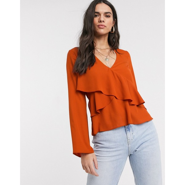エイソス レディース シャツ トップス ASOS DESIGN long sleeve v neck top with ruffle detail Rust