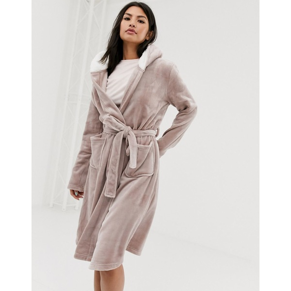 エイソス レディース コート アウター ASOS DESIGN super soft hooded midi robe Cappucino