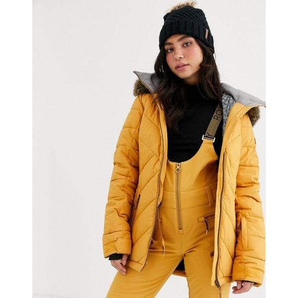 ロキシー レディース ジャケット&ブルゾン アウター Roxy Snow Quin ski jacket in quilted yellow Spruce yellow