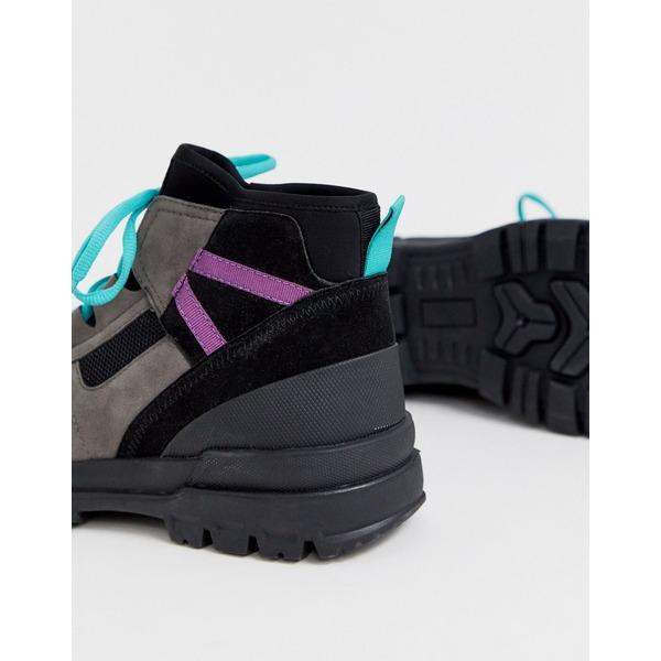 エイソス メンズ ブーツ&レインブーツ シューズ ASOS DESIGN hiker lace up boots in gray multi Gray