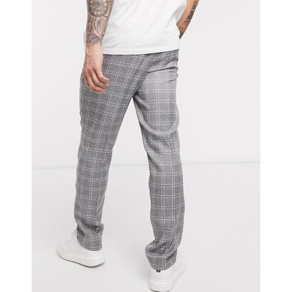 エイソス メンズ カジュアルパンツ ボトムス ASOS DESIGN slim suit pants in gray broken check Gray