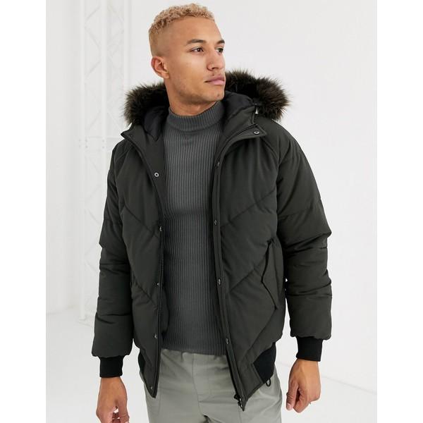 エイソス メンズ コート アウター ASOS DESIGN puffer jacket in khaki with detachable faux fur trim Khaki