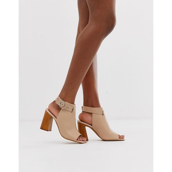 エイソス レディース ブーツ&レインブーツ シューズ ASOS DESIGN Hacienda leather peep toe boots Pale pink leather