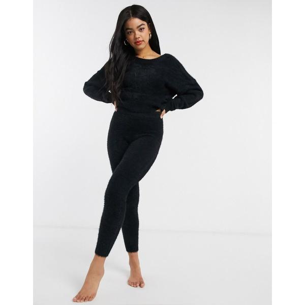 エイソス レディース レギンス ボトムス ASOS DESIGN premium lounge fluffy knitted legging Black