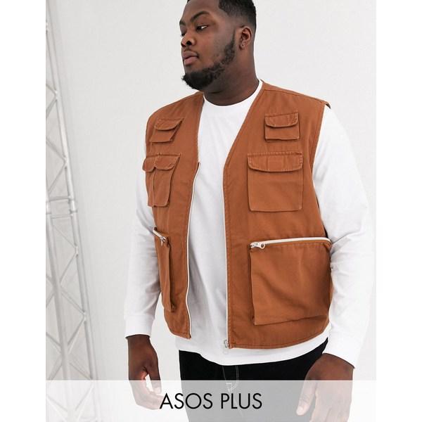 エイソス メンズ ジャケット&ブルゾン アウター ASOS DESIGN Plus utility vest in tan Tan