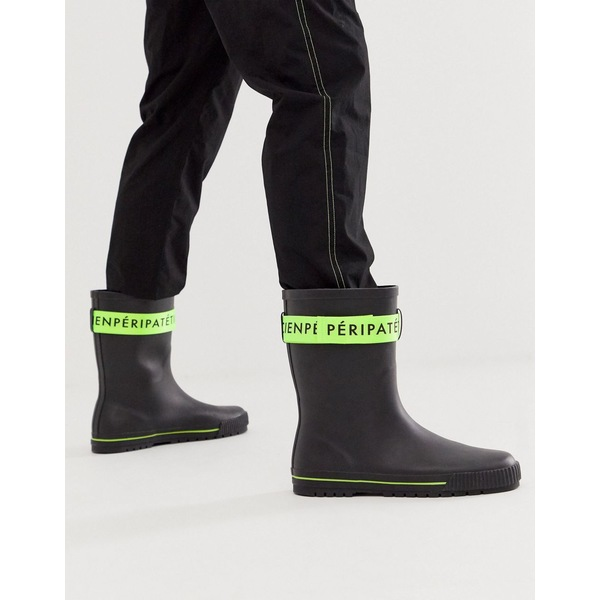エイソス メンズ ブーツ&レインブーツ シューズ ASOS DESIGN wellies in black with green tape detail Black