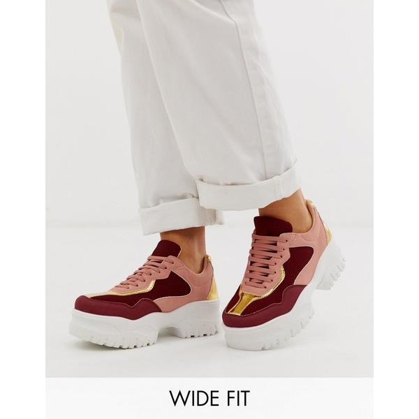 エイソス レディース スニーカー シューズ ASOS DESIGN Wide Fit Dart chunky sneakers in multi Multi