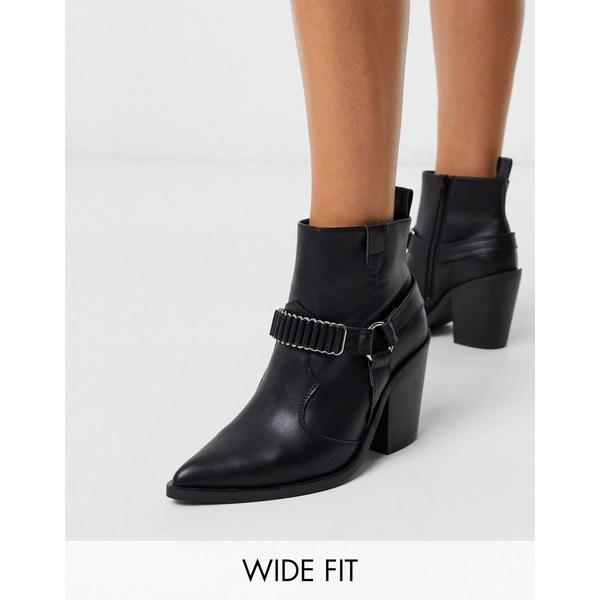 エイソス レディース ブーツ&レインブーツ シューズ ASOS DESIGN Wide Fit Everyday western ankle boots with harness Black