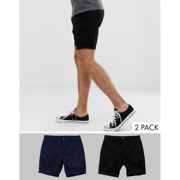 エイソス メンズ カジュアルパンツ ボトムス ASOS DESIGN 2 pack skinny chino shorts in black & navy save Black/navy