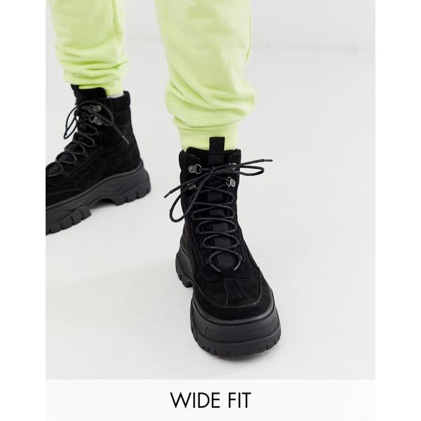 エイソス メンズ ブーツ&レインブーツ シューズ ASOS DESIGN Wide Fit lace up boot in black faux nubuck with chunky sole Black