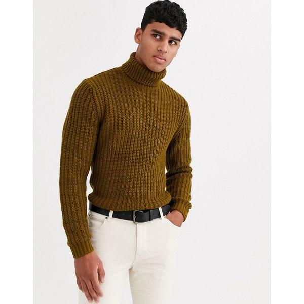 エイソス メンズ ニット&セーター アウター ASOS DESIGN heavyweight fisherman rib roll neck sweater in khaki Khaki