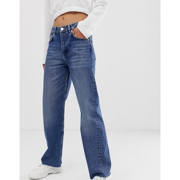エイソス レディース デニムパンツ ボトムス ASOS DESIGN Authentic dad jean in mid vintage washed blue with raw hem Mid stone wash