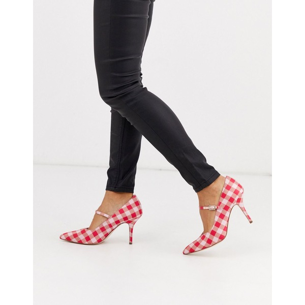 エイソス レディース ヒール シューズ ASOS DESIGN Strallen mary-jane mid heels in pink gingham Pink gingham
