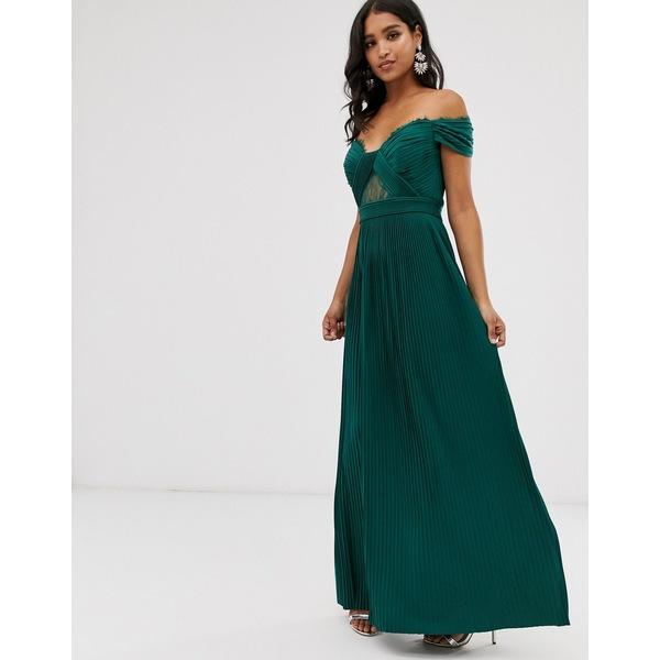 エイソス レディース トップス ワンピース Forest green 限定価格セール 全商品無料サイズ交換 ASOS maxi and DESIGN 超特価 pleat lace bardot premium dress