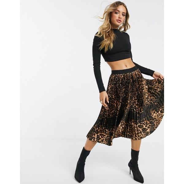 プリティリトルシング レディース スカート ボトムス PrettyLittleThing pleated midi skirt in leopard print Multi
