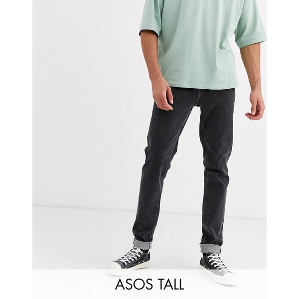エイソス メンズ デニムパンツ ボトムス ASOS DESIGN Tall slim jeans with exposed button fly in retro black Washed black