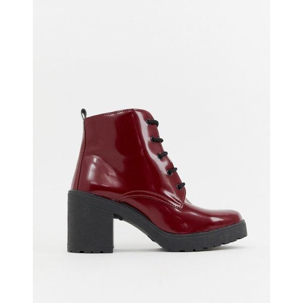エイソス レディース ブーツ&レインブーツ シューズ ASOS DESIGN Rosa chunky lace up boots Burgundy