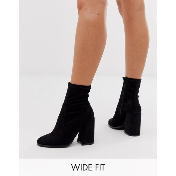 エイソス レディース ブーツ&レインブーツ シューズ ASOS DESIGN Wide Fit Ellan heeled sock boots in black Black