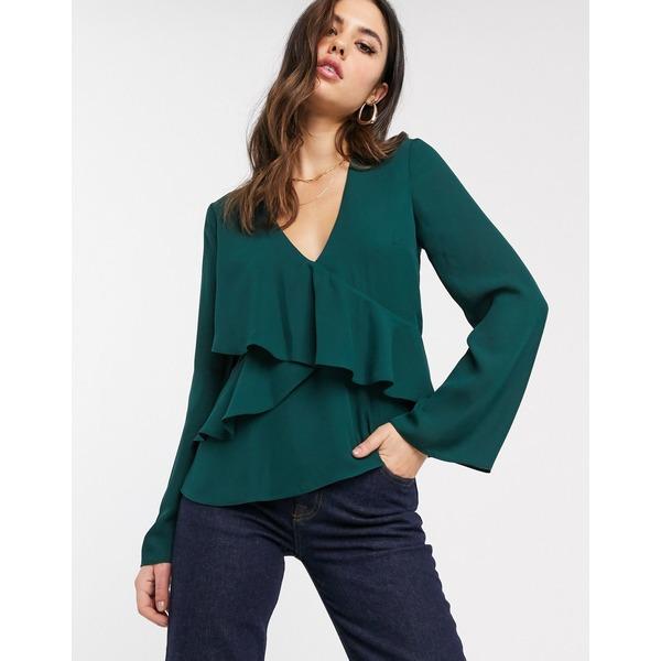 エイソス レディース シャツ トップス ASOS DESIGN long sleeve v neck top with ruffle detail Green