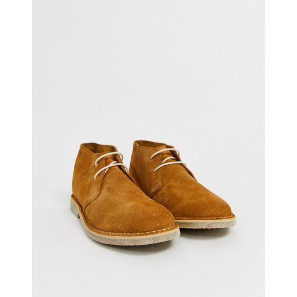 エイソス メンズ ブーツ&レインブーツ シューズ ASOS DESIGN desert chukka boots in tan suede Tan