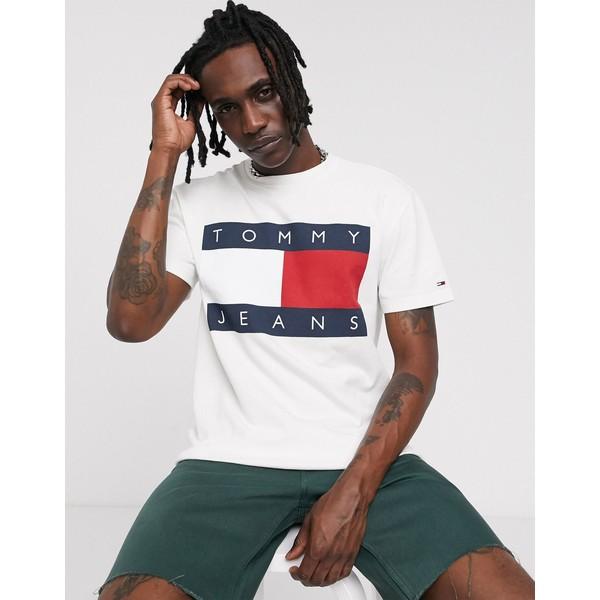 トミーヒルフィガー メンズ Tシャツ トップス Tommy Jeans flag tee in white Classic white